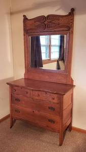 Antique Oak 4 Drawer Dresser on Casters w/ Mirror ~ Dresser: 44 x 22 x 35 in. tall & Mirror: 41 x 47 in. tall ~ Mirror is already detached from Dresser