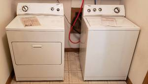 Whirlpool Washer & Dryer Set ~ Washer: 27 x 25. 5 x 42.5 in. tall and Dryer: 29 x 28 x 42.5 in. tall. Both WORK as they should!