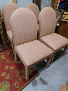 Four upholstered dining chairs 42 in H X 20 1/2 in D X 20 1/2 in W