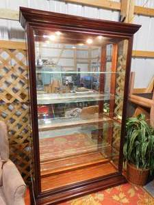 Beautiful - Pulaski - cherry lighted glass curio cabinet w/ side entry - 80 in H X 46 in W X 13 in D