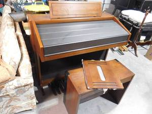 Yamaha electone F-55 family organ with pullover cover and bench- organ is 38 in H X 46 in W X 23 in W, bench is 22 in H X 27 1/2 in W X 12 1/2 in D