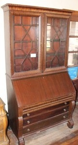 "Vintage Secretary Desk With Display Cabinet | Display Cabinet Locks (Key Included) | 81"" T x 42"" W x 21"" D"