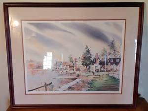 "Lakeside Watercolor Painting | Signed by Artist Howard Watson | 31"" T x 25"" W"