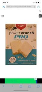 Power Crunch Pro 20g Protein Energy Wafer Bar, 4 Bars French Vanilla Creme