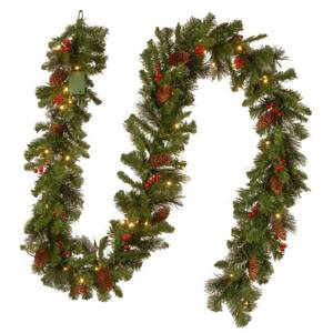 9-foot Pre-lit Spruce Garland with LED Lights, Cones, Berries, and Glitter - Green