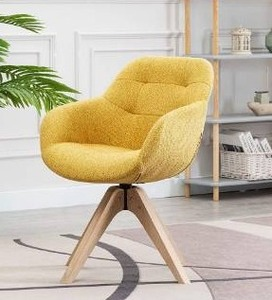 Swivel Armchair Fabric Accent Chair Dining Chair with Oak Wood Legs Retail:$158.49