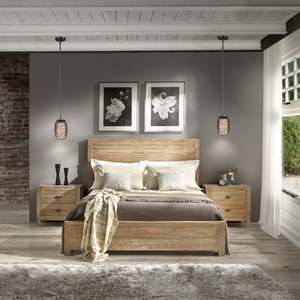 Grain Wood Furniture Montauk Full size Solid Wood Panel Bed Rustic Walnut Retail:$517.49