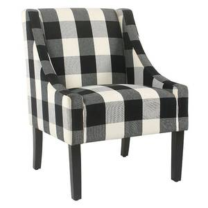 HomePop Modern Swoop Accent Chair - Black Plaid Retail:$218.99