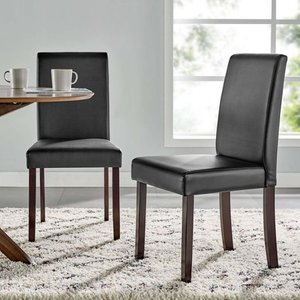 Prosper Faux Leather Dining Side Chair Set of 2 in Black