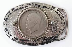 1977 Ike Eisenhower Liberty Dollar Coin Belt Buckle - Made in the USA