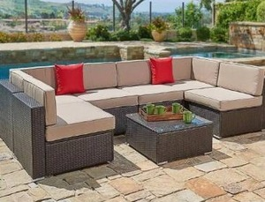 Outdoor 4-piece Wicker Sofa Conversation Set by Havenside Home - Beige(Incomplete read description)-Retail Value $709.99