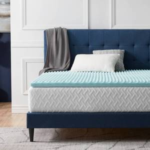 Twin - 2 Inch- LUCID Comfort Collection Convoluted Gel Memory Foam Mattress Topper - Blue