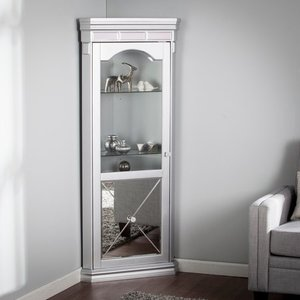 Zephyr Mirrored Lighted Corner Curio Cabinet- Retail:$482.99 silver