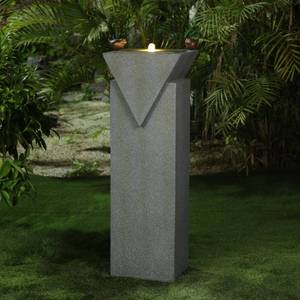 Cement Modern Pedestal Patio Fountain w/ LED Lights