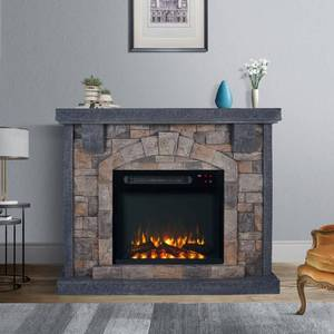 Grey 45 inch Wide Faux Stone Electric Fireplace Mantel Retail $564.99