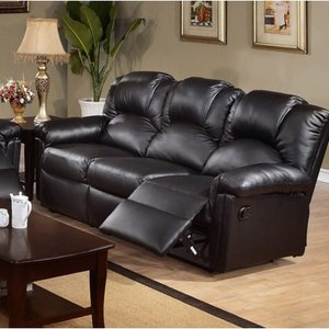Poundex F6672 Black Bonded Leather Reclining Sofa With Two Recliners $929.99