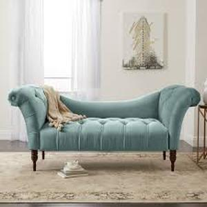 Skyline Furniture Tufted Chaise Lounge in Linen Seaglass $956.79