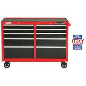 CRAFTSMAN Heavy-Duty 52-in W x 37.5-in H 10-Drawer Ball-bearing Steel Tool Cabinet (Red)