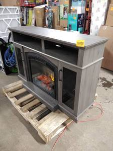 grey fireplace mantle with insert