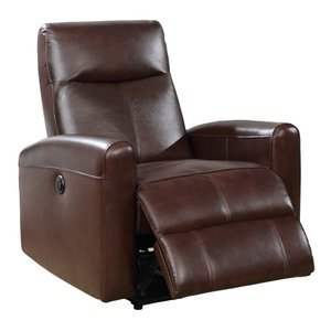 Brown- Eli Contemporary Leather Living Room Power Recliner with Lumbar Massage- Retail:$529.99