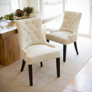 Hayden Tufted Fabric Dining/ Accent Chair (Set of 2) by Christopher Knight Home- Retail:$280.98
