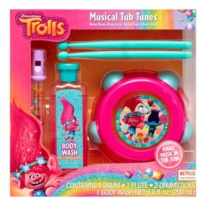 DreamWorks Trolls 4-Piece Musical Tub Tunes Bath Set with Drum and Flute