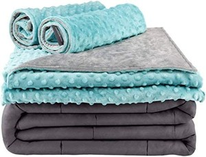 Secura Everyday Luxury Premium Adult Weighted Blanket & Removable Green Minky Cover & 2 Pillowcases (15 lbs 60 x 80 Queen Size, 100% Cotton Material with Glass Beads