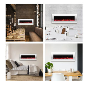 Glossy White Lockport Pearl Wall Mounted Electric Fireplace - Retail $429.99