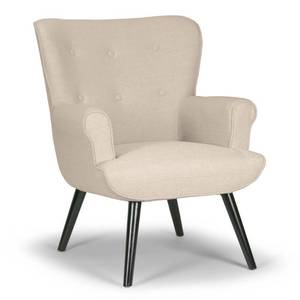 Null- Retail:$361.49 Alexi Modern Biege Fabric Wing Chair with Button Tufted Back