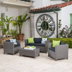 black and dark greyPuerta Outdoor 4-piece Sofa Set by Christopher Knight Home - Retail:$728.99
