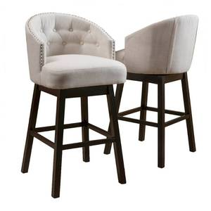 Ogden 35-inch Fabric Swivel Backed Barstool (Set of 2) by Christopher Knight Home- Retail:$238.99 beige