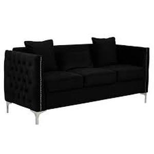 bayberry contemporary velvet fabric sofa couch with 3 pillows Black- Retail:$759.49