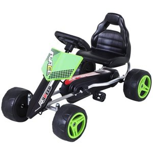 Aosom Kids Go Kart, 4 Wheeled Ride On Pedal Car, Racer for Boys and Girls for Outdoor