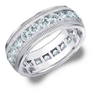 Mens Eternity Ring, 3CT Lab Grown Wedding Ring for Men with Satin Finish, E-F/VS- Retail:$2514.48