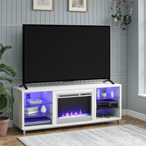 "Ameriwood Home Lumina Fireplace TV Stand for TVs up to 70"" Wide, White"