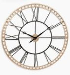 The Tower XXL Large Open Face Metal Wall Clock 39 inch - Black and Gold II- Retail:$164.49