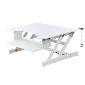 "Rocelco 32"" Height Adjustable Standing Desk Converter Quick Sit Stand Up Dual Monitor Riser Gas Spring Assist Tabletop Computer Workstation Large Retractable Keyboard Tray White (R ADRWL)"