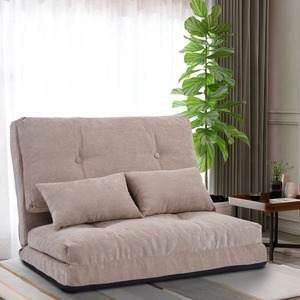 Beige Sofa Bed with 2 Pillows Adjustable Folding Futon Sofa