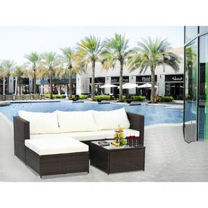Grey- 2-Piece Outdoor Conversation Set Rattan Patio Furniture Set Bistro Set Sofa Chairs with Coffee Table Retail:$648.49