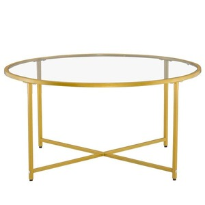 Modern Cross Foot Round Glass Coffee Table Living Room Side Table Retail:$114.99