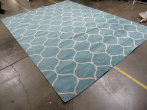 10.5' x 10' Blue Pattern Area Rug
