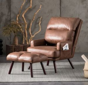 Ovios Velvet Recliner Chair with Ottoman- Retail:$314.99