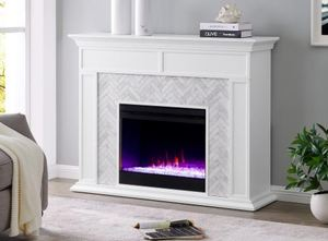 Torton Contemporary White Wood Electric Fireplace- Retail:$752.99 (Fireplace Insert- Not Included)