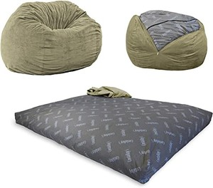 CordaRoy's Chenille Bean Bag Chair ~ Convertible Chair Folds from Bean Bag to Bed - Queen Size - Color: Moss
