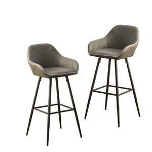 Roundhill Horgen Contemporary Gray Faux Leather barstools with Metal Frame, Set of 2
