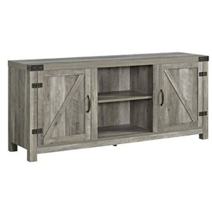 "Walker Edison 58"" Farmhouse Barndoor TV Stand in Gray Wash"