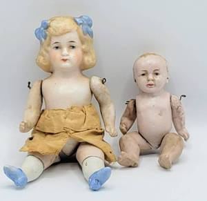 German Vtg/Antique Bisque Jointed Doll + Bisque Jointed Baby Doll - Dollhouse Dolls