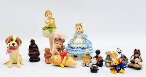 (14) Piece Lot - Variety of Figurines including Miniature Clay Figures - KU Jayhawk clay figure