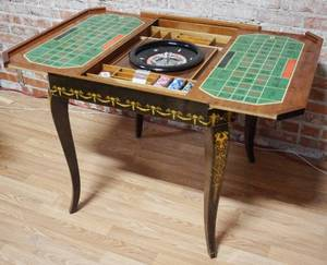Vintage Italian Game Table Set w/ 4 Chairs - Handmade - Gorgeous Inlaid Wood- Highly Collectible - Excellent Condition