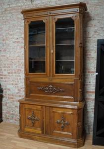 Beautiful Antique Walnut Secretary Desk/Cabinet - Over 8 Feet Tall! - GORGEOUS - w/ key MUST SEE!